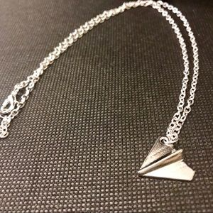 Jewelry - NWT Silver Paper Plane Chain Pendant Necklace